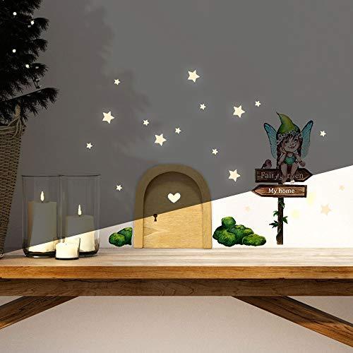Elfentür Wichteltür Feentür Wandtattoo kleine Fee Elfe auf Schild mit Mooshügeln + Leuchtsticker e34 - ausgewählte Farbe: *holzfarbene Tür*