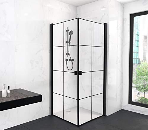 MARWELL 90 x 90 x 200 cm CLEAN LINE Glasdusche, Dekor Linien, Eckdusche