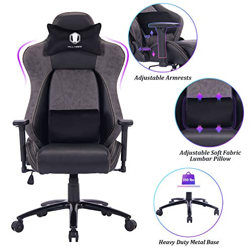 VON RACER Big and Tall Gaming Chair Racing Office Chair - Adjustable Back Angle, Soft Fabric Lumbar Support and Arms Ergonomic High-Back Leather Computer Desk Swivel Chair w/Metal Base, Black chair gaming