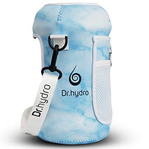 DR.HYDRO 2.2L Water Bottle Half Gallon Sleeve Jug Insulated Neoprene Cover Large 74oz Holder with Shoulder Strap for Gym and Workout (Blue Marble)