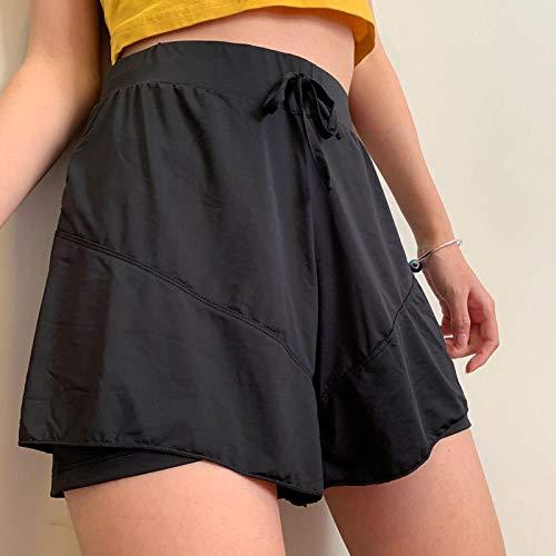 WUANNI Elastisch Bequem Yogahosen Fitnesshose Mit Taschen,Schnelltrocknende Shorts für Sportlerinnen mit gefütterter,doppelschichtiger,atmungsaktiver,hochelastischer,schwarzer_XXL