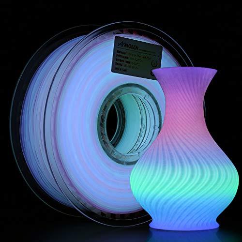 AMOLEN Filamento PLA 1.75mm, Glow in the Dark Multicolore PLA Fliament, Stampante 3D Filamento PLA, 1kg, Cambio di Colore Ogni 5 Metri