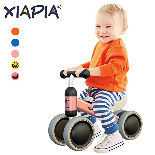 XIAPIA Baby Balance Bikes Bicycle Children Walker for 10 - 24 Month, Ride On Toys for 1 Year Old Boys Girls, No Pedal Infant 4 Wheels, Toddler Top First Birthday Gift (Pink)