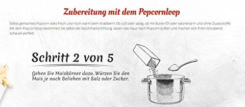 Popcornloop Heimkino-Set inkl. Rührstab, 1x Ersatzhaube, 1x Premium Popcorn Mais 500g - 5