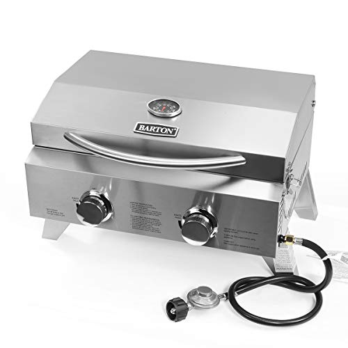 Barton Two-Burner Propane Tabletop Gas Grill Stainless Steel BBQ with Foldable Leg, 20000 BTU, Stainless Steel Grills Propane