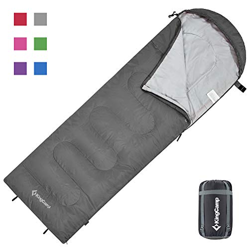 KingCamp Oasis Deckenschlafsäcke mit Kopfteil für Erwachsenen Leichtgewicht 3 Jahreszeiten, Grau, 220 × 75 cm