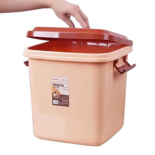 ZXL rijstemmer, huishouden, ongediertebestrijding, rijstbox, vochtbestendige rijst, bewaardoos, rijst cilinder, mueslihouder, kleur: bruin, afmetingen: 25,8 x 25,8 x 28 cm