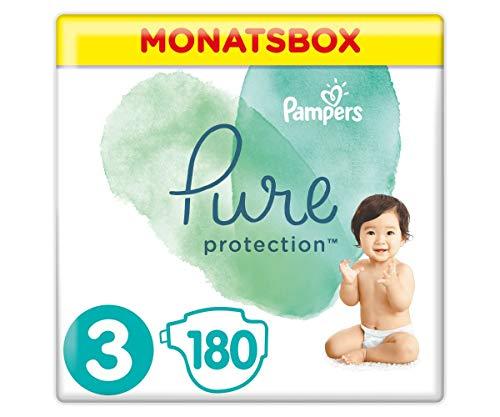 Pampers Pure Protection Windeln, Gr.3, 6-10kg, Monatsbox (1 x 180 Windeln), Mit Premium-Baumwolle Und Pflanzenbasierten Materialien