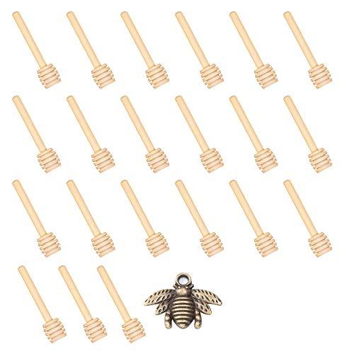 24 varillas de madera para miel y 50 colgantes – Mini varillas de madera para miel para boda, tarro de miel y regalo (24 palitos de dosis y 50 colgantes de abeja)