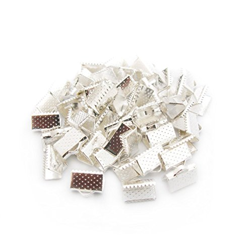TOAOB 100 Pieces Silver Tone Pinch Crimp Ends 10mm for Jewellery Making