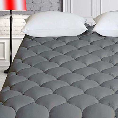 HARNY Cooling Mattress Pad Cover Pillow Top 400TC Cotton Breathable Mattress Topper Quilted Fitted with 8-21' Deep Pocket (Olympic Queen, Dark Gray)