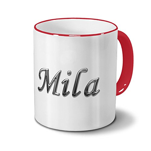 Tasse mit Namen Mila - Motiv Chrom-Schriftzug - Namenstasse, Kaffeebecher, Mug, Becher, Kaffeetasse - Farbe Rot