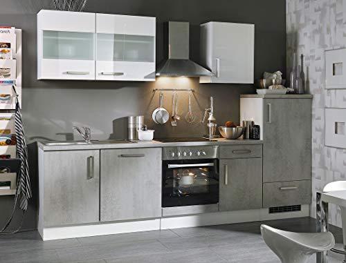 expendio Küchenblock Maika 280 cm mit E-Geräten komplett Betonoptik weiß Hochglanz Küchenzeile Einbauküche Komplett-Küche