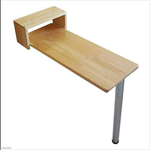 WTT klaptafel tafel bar ontvangsttafel van massief hout wandbehang eettafel kantoor werkkamer grootte optioneel, kleur hout (grootte: 105 x 40 x 101 cm)
