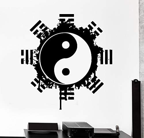 ASFGA Böhmische Vinyl Wandaufkleber Buddha Yin Yang Blume Religiöse Wandmalerei Künstler Home Wanddekoration Yoga Raum Meditation Aufkleber 85x85cm
