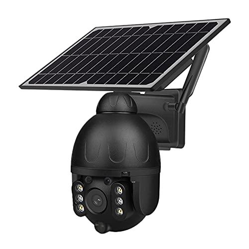 Varadyle CáMara Domo de Vigilancia, 1080P HD 4G CáMara Solar CáMara CCTV PTZ para Exteriores Monitor de Seguridad IP66 Impermeable Negro