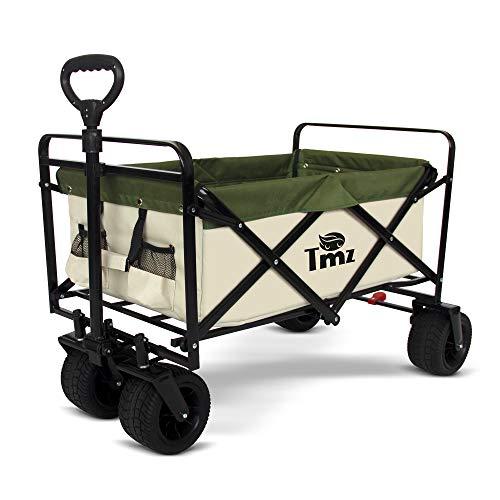 TMZ All Terrain Utility Folding Wagon, Collapsible Garden Cart, Heavy Duty Beach...