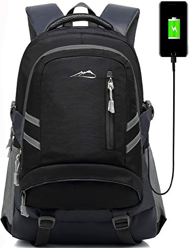 Backpack Bookbag for School College Student Sturdy Travel Business Laptop Compartment with USB Charging Port Luggage Chest Straps Night Light Reflective (Black)