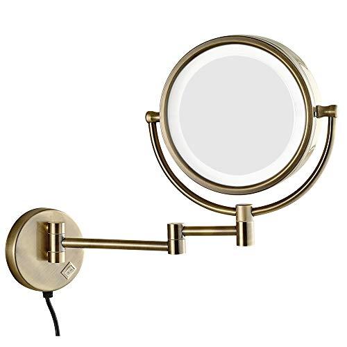 miroir grossissant,Miroir de maquillage avec lumière agrandir miroir de vanité double face rabattable télescopique 10X vert bronze