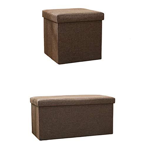 CVBN Taburete de Almacenamiento de Lino, Taburete de sofá Multifuncional Que se Puede Sentarse, Taburete de Almacenamiento Cuadrado para hogares, 29.9x15x15 Pulgadas,Marrón,15x15x15 in