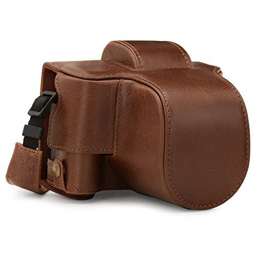 MegaGear Ever Ready MG1884 Kameratasche aus Echtleder, kompatibel mit Fujifilm X-T200 (XC15-45 mm), Braun
