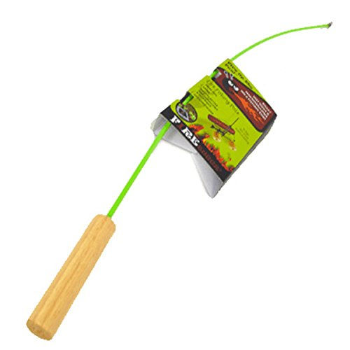 Firebuggz Fishing Pole Campfire Cooking Equipment, GREEN, Funny Hot Dog and Marshmallow Campfire Roasters, 4 Colors