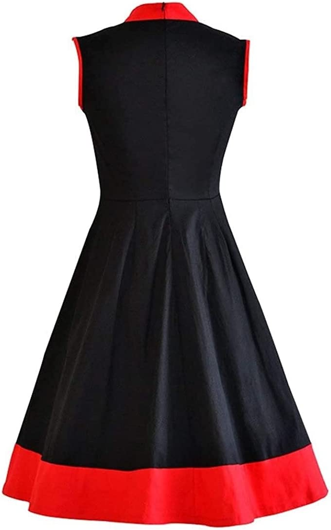 L&J Women's Vintage Chinese Cheongsam Qipao Prom Party Swing Dress 6.02 (Color : Black, Size : 16)