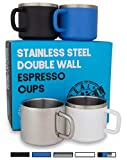 Stainless Steel Espresso Cups: Set of 4 Double Wall Insulated 3 oz Small Metal Cups with Handle, Assorted Color, Shatterproof, Demitasse, Keeps Espresso Hot