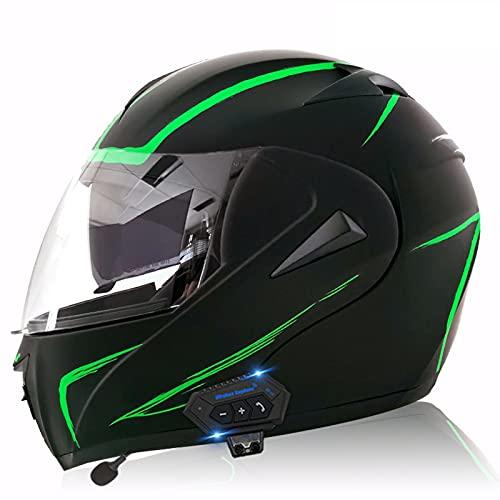 WEDSFC Motorradhelm Klapphelm Mit Bluetooth - Klapphelm Motorrad Herren - Rollerhelm Bluetooth-Helm Mit Doppelvisier, ECE Genehmigt Motorradhelm Für Damen Und Herren,N,L=59~60cm