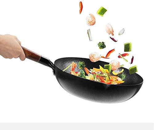 LXYZ Eisen-Wok,Hand gehämmerter Wok,Wok mit 12 cm (32 cm Flacher Boden). Chinesischer handgearbeiteter Eisentopf Geeignet für Induktionsherd und Erdgas