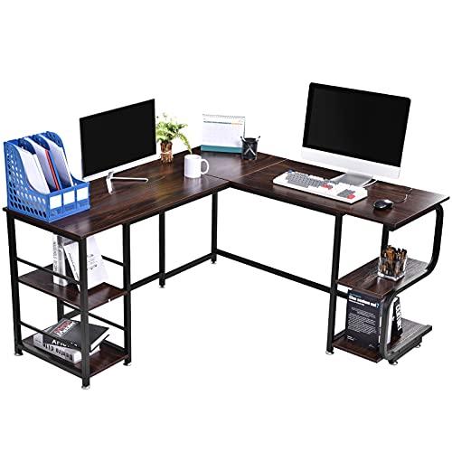 Bellanny Escritorio Esquinero L-Shaped, Mesa Ordenador para Oficina, Escritorio de Computadora con 2 Niveles de Estantes Espaciosas, Mesa para Estudio, Oficina, Dormitorio (Marron Oscuro)