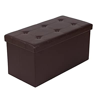 SONGMICS 30  L Faux Leather Folding Storage Ottoman Bench, Storage Chest/Footrest/Coffee Table/Padded Seat, Brown ULSF40Z