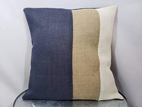 Thomas655 Op maat gemaakte threetone streep marineblauw ivoor natuurlijk of maak eigen kleuren rustieke jute kussen coversham