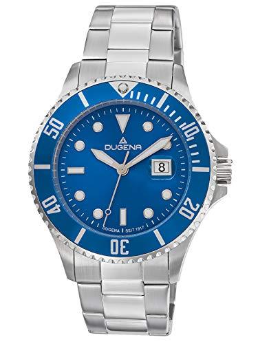 Dugena Herren Quarz Armbanduhr Diver XL mit Edelstahlband Blau/Silberfarben 4461003