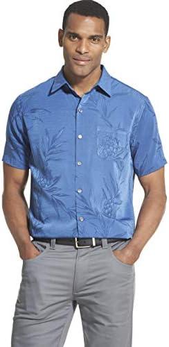 Van Heusen Men s Air Tropical Short Sleeve Button Down Poly Rayon Shirt True Navy Medium product image