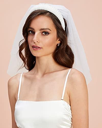 xo, Fetti Bachelorette Party Decorations Pearl Headband with Detachable Veil | White Headpiece Bridal Shower Gift, Bridesmaid Favors