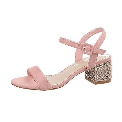 Ital-Design Damenschuhe Sandalen & Sandaletten High Heel Sandaletten Synthetik Rosa Gold Gr. 38