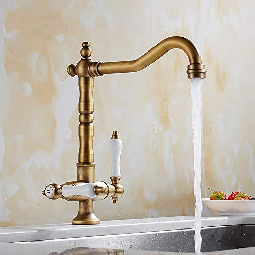 CESULIS Europeo antiguo cocina Lavavajillas grifo 360 ° giratorio fregadero lavabo lavabo caliente y frío cerámica bronce inoxidable