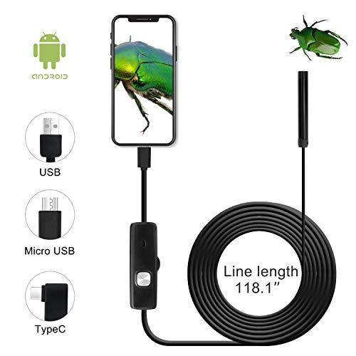 QiCheng&LYS Cámara de inspección inalámbrica, endoscopio WiFi Impermeable 1200P cámara Serpentina de Alta definición, Adecuada para teléfonos Inteligentes Android e iOS,(5m)