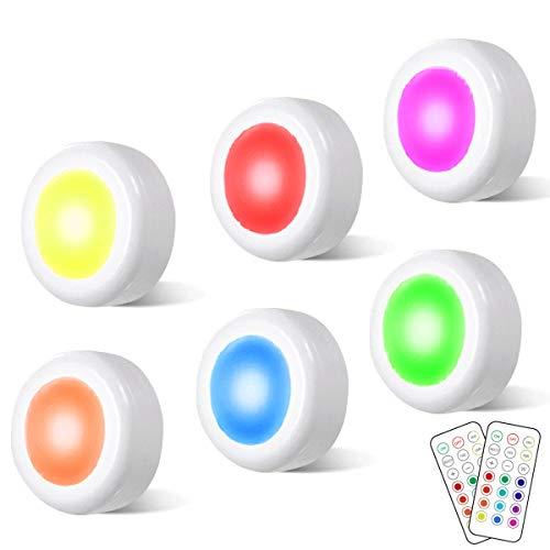 RGB Schrankleuchten LED mit Fernbedienung - Cadrim 6er Pack Schranklichter Kabinett Beleuchtung Unterbauleuchte Dimmbar 13 Farben 4 Modi für Schlafzimmer, Kleiderschrank, Kabinett