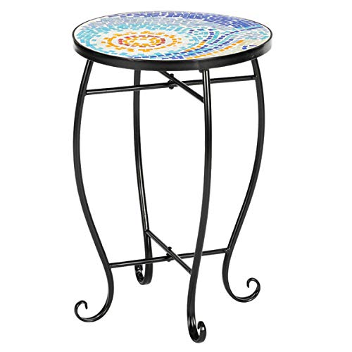 Glass Garden Side Table Plant Stands Outdoor Patio Decking Accent Table Small Mosaic Table Glass Top Round Balcony Coffee Table