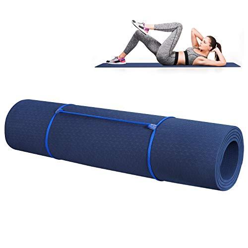 Yogamatten Gymnastik Fitness-matten TPE Yoga mat, Übungsmatte Dünne rutschfeste Yogamatte Outdoor Sportmatte für Pilates,Fitness,Sport und Training Yogamatte 183 x 61 x 0.6 cm Blau