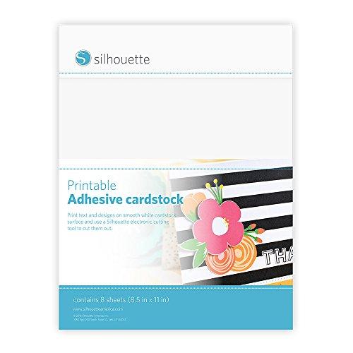 "Silhouette America Silhouette Printable Adhesive Cardstock 8.5""X11"" 8/Pkg-White, 8.5&quot X 11&quot"