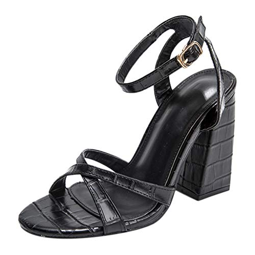 Luckycat Zapatos de Tacón Alto Ancho para Mujer Sexy Elegantes Verano Sandalias con Punta Abierta para Mujer Zapatos con Tacon y Correa de Tobillo para Mujer