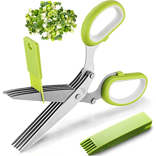 2021 Updated Herb Scissors Set - Herb Scissors With 5 Blades and Cover, Cool Kitchen Gadgets for Cutting Shredded Lettuce, Cilantro Fresh, Green Onion Fresh and etc. Also Can Used for Cutting Paper.