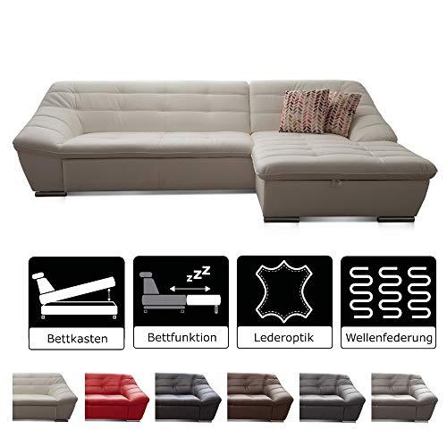 Cavadore Ecksofa Lucas / Schlafcouch mit Steppung / Longchair rechts / Inkl. Bettfunktion und Bettkasten / 287 x 81 x 165 (BxHxT) / Kunstleder weiß