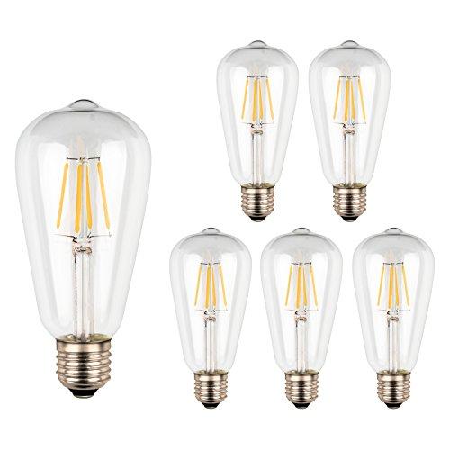 Ascher 5er-Pack ST64 E27 4W LED Edison Lampe, Nicht Dimmbar, 40W Entspricht Glühlampe, 420lm, 280° Abstrahlwinkel, Warmweiß