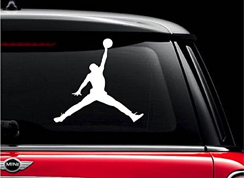 JORDAN (1) (White 5') Vinyl Decal Sticker for Car Automobile Window Wall Laptop Notebook Etc.... Any Smooth Surface Such As Windows Bumpers