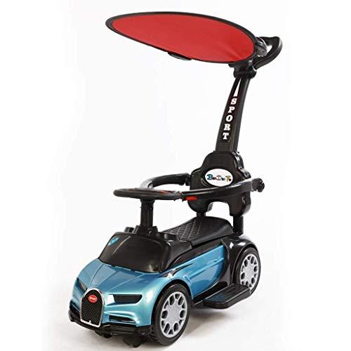 Mädchen Jungen 4-in-1-Fahrt auf Auto Walker Hand schieben Scooter Slider Kinderwagen Kleinkind Push-Along-Lenkrad Manuell Untersitzspeicher Sicher Unisex (Color : Blue)
