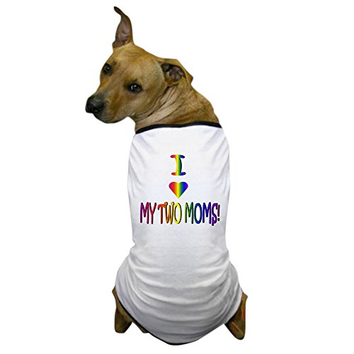 CafePress I Heart My 2 Moms Dog T-Shirt, Pet Clothing, Funny Dog Costume